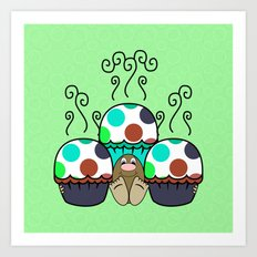 Cute Monster With Cyan And Blue Polkadot Cupcakes Art Print
