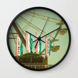 Lemonade & Corn Dogs Carnival Fair Foodie Pastels Wall Clock