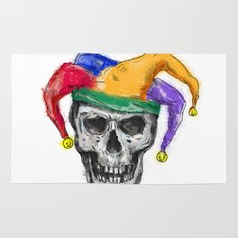 Jester Skull Laughing Tattoo Rug