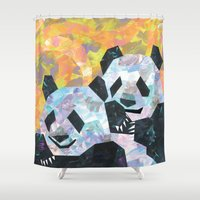 pandas Shower Curtains featuring Pandas by DanielleArt&Design