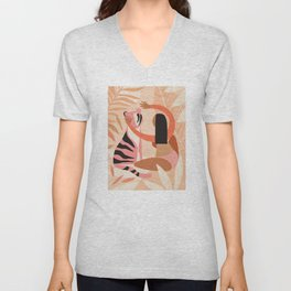 The Fearless Hug - Girl and Tiger  Unisex V-Neck