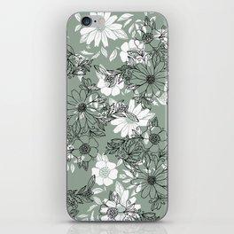 Vintage green black white hand drawn floral iPhone Skin