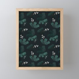 Watercolor Christmas pine branches pattern Framed Mini Art Print