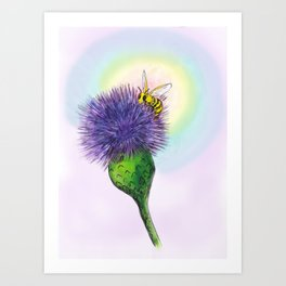 Buzzy Bee and Thistle Art Print