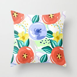 Flowers red pattern Throw Pillow