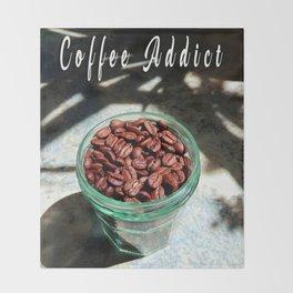Coffee Beans in Manson Jar Throw Blanket