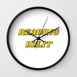 READING IS LIT - yellow Wall Clock
