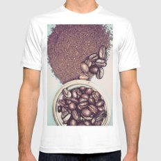 Coffee Beans and Coffee Ground Mens Fitted Tee White SMALL