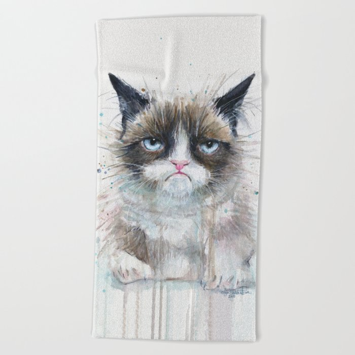 Grumpy Kitty Cat Beach Towel