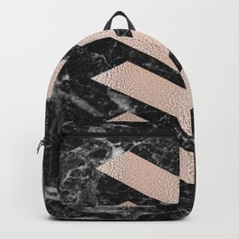 Black marble & rose gold chevrons Backpack