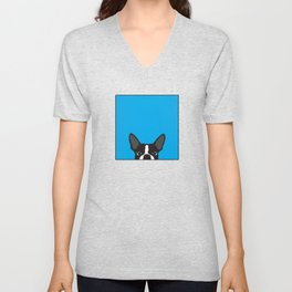 Boston Terrier Blue Unisex V-Neck