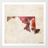 maryland Art Prints featuring Maryland by MapMapMaps.Watercolors