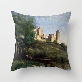 "Jean-Baptiste-Camille Corot ""Ruins of the Château de Pierrefonds"" Throw Pillow"