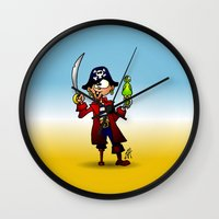 pirate Wall Clocks featuring Pirate by Cardvibes.com - Tekenaartje.nl