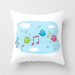 Music birds Throw Pillow
