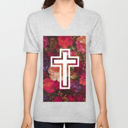 Flower Cross Unisex V-Neck