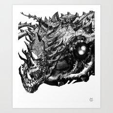 Dragon Machine [Digital Fantasy Illustration] Light Pen version Art Print