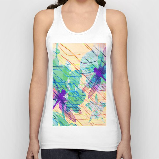 Colorful Dragonflies Unisex Tank Top
