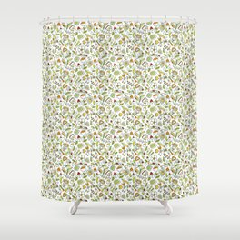 Colorful flowers and berries in scandinavian style Shower Curtain