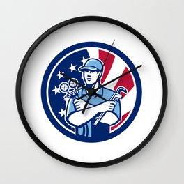 American Air-Con Serviceman USA Flag Icon Wall Clock