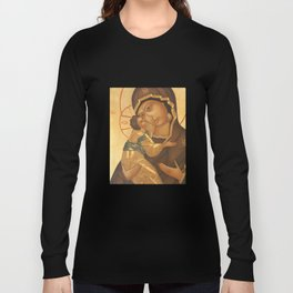 Orthodox Icon of Virgin Mary and Baby Jesus Long Sleeve T-shirt