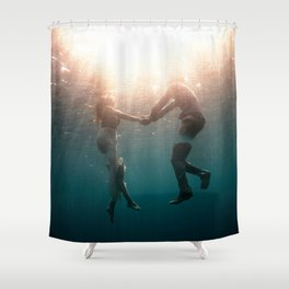 Breaking Up-Surreal Couple in the Ocean Shower Curtain