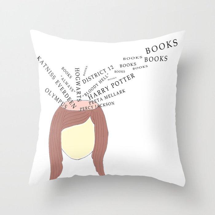 Inside Bookworm's Head Throw Pillow