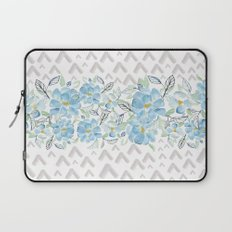 Gray arrows and blue flowers Laptop Sleeve