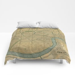 Vintage Map of New Orleans Louisiana (1893) Comforters