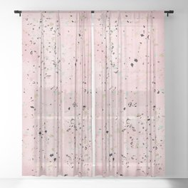 Blush and gold marble terrazzo design Sheer Curtain