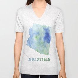 Arizona map outline Blue green blurred watercolor Unisex V-Neck