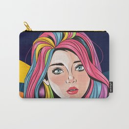 Look of innocence, Beautiful girl face with blue eyes and full color unicorn rainbow hair Carry-All Pouch