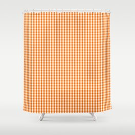 Dark Pumpkin Orange and White Gingham Check Pattern Shower Curtain