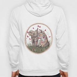 Tiger, Baby Elephant, and Mouse Playing in Poppies Hoody