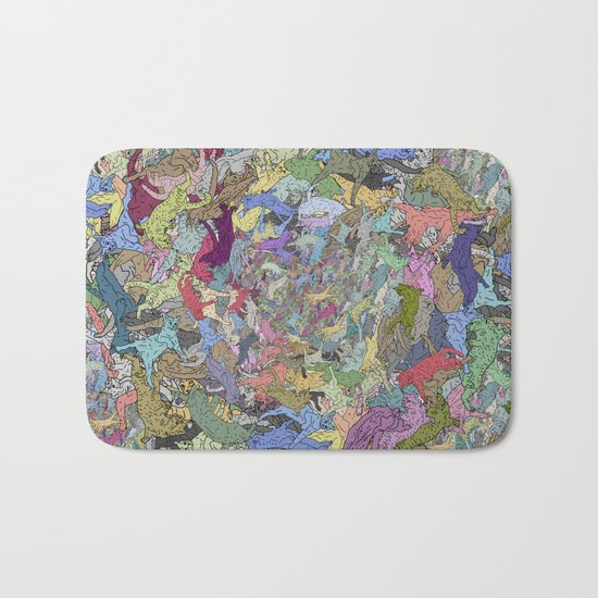 Colorful Flying Cats Bath Mat
