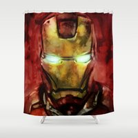 iron man Shower Curtains featuring Iron Man by SachsIllustration