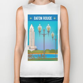 Baton Rouge, Louisiana - Skyline Illustration by Loose Petals Biker Tank