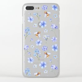 Elegant lavender brown watercolor honey bee floral Clear iPhone Case