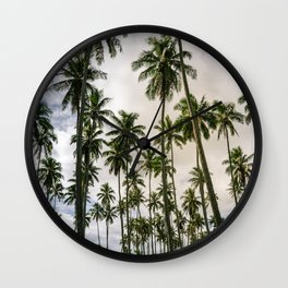 Palm Trees Kauai Hawaii Printable Wall Art | Tropical Beach Nature Ocean Coastal Travel Photography Print Wall Clock
