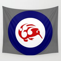 maori Wall Tapestries featuring Kiwi Air Force Roundel by mailboxdisco