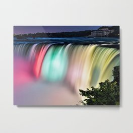 Lights of American Falls - Niagara Falls at Twilight Metal Print