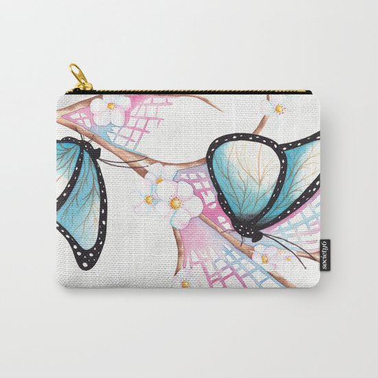 Watercolour Butterflies on Apple Blossom Carry-All Pouch