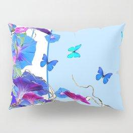 BLUE BUTTERFLIES & PURPLE MORNING GLORIES Pillow Sham