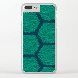 Green Scribbled Hexagon Geometric Pattern Clear iPhone Case