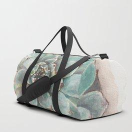 Soft Green Succulent flower Rosette_gouache painting_hand painted Duffle Bag