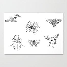 Nature Tattoo Flash Designs Canvas Print