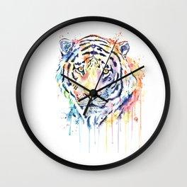Tiger - Rainbow Tiger - Colorful Watercolor Painting Wall Clock