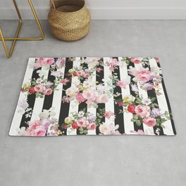 Bold pink watercolor roses floral black white stripes Rug