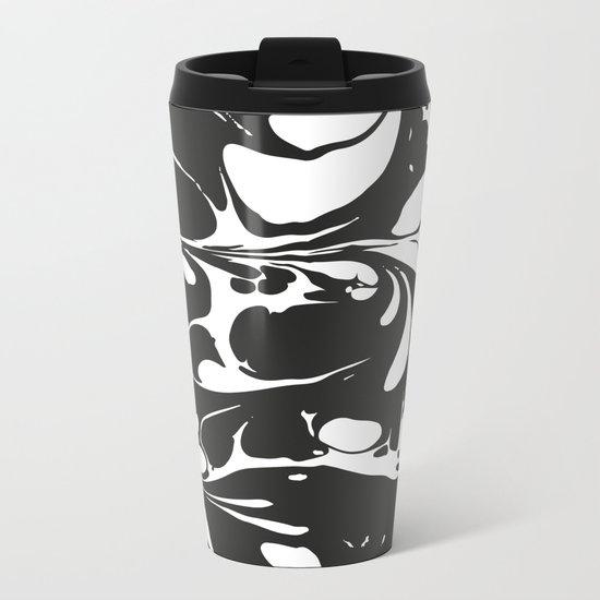 Black and White Marble Surface Design Metal Travel Mug