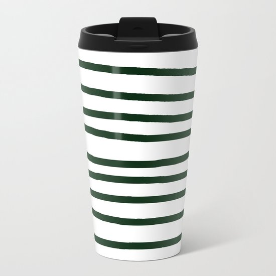 Simply Drawn Stripes in Pine Green Metal Travel Mug